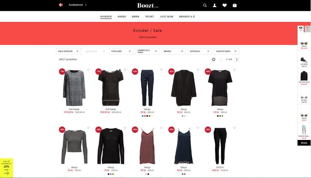 Booozt.com's afdeling med online-outlet hvor du kan købe varer på udsalg og tilbud