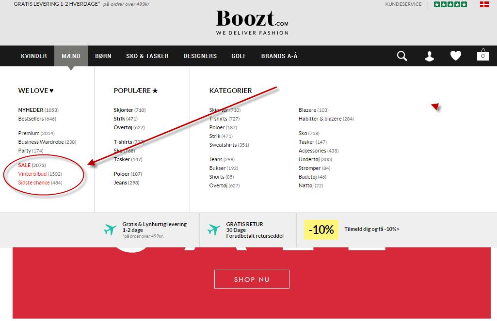 Boozt.com - outlet og tilbud - sådan finde du dem