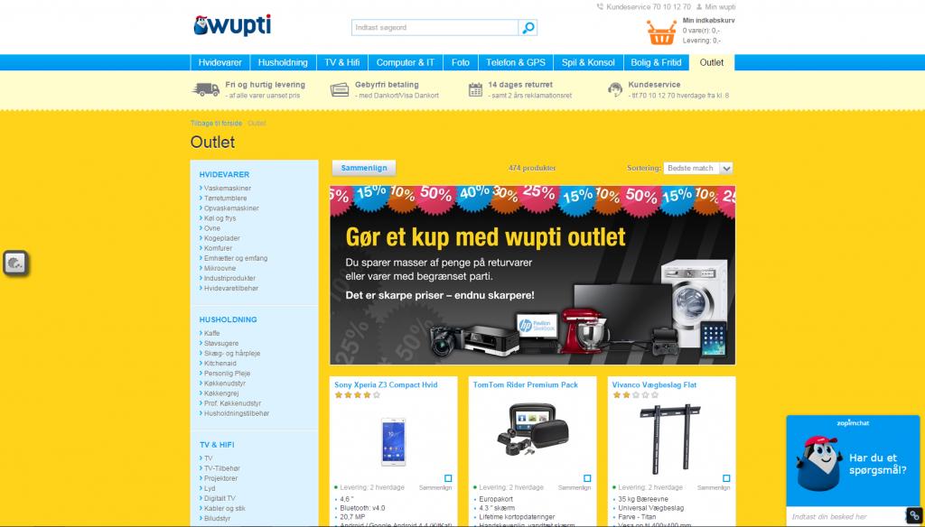 Wupti.com har deres egen online-outlet