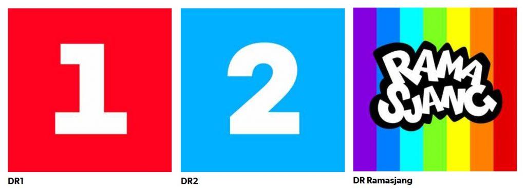 Logoer for de tre DR kanaler som stadig kan ses med antenne, nemlig DR1, DR2 og DR Ramasjang